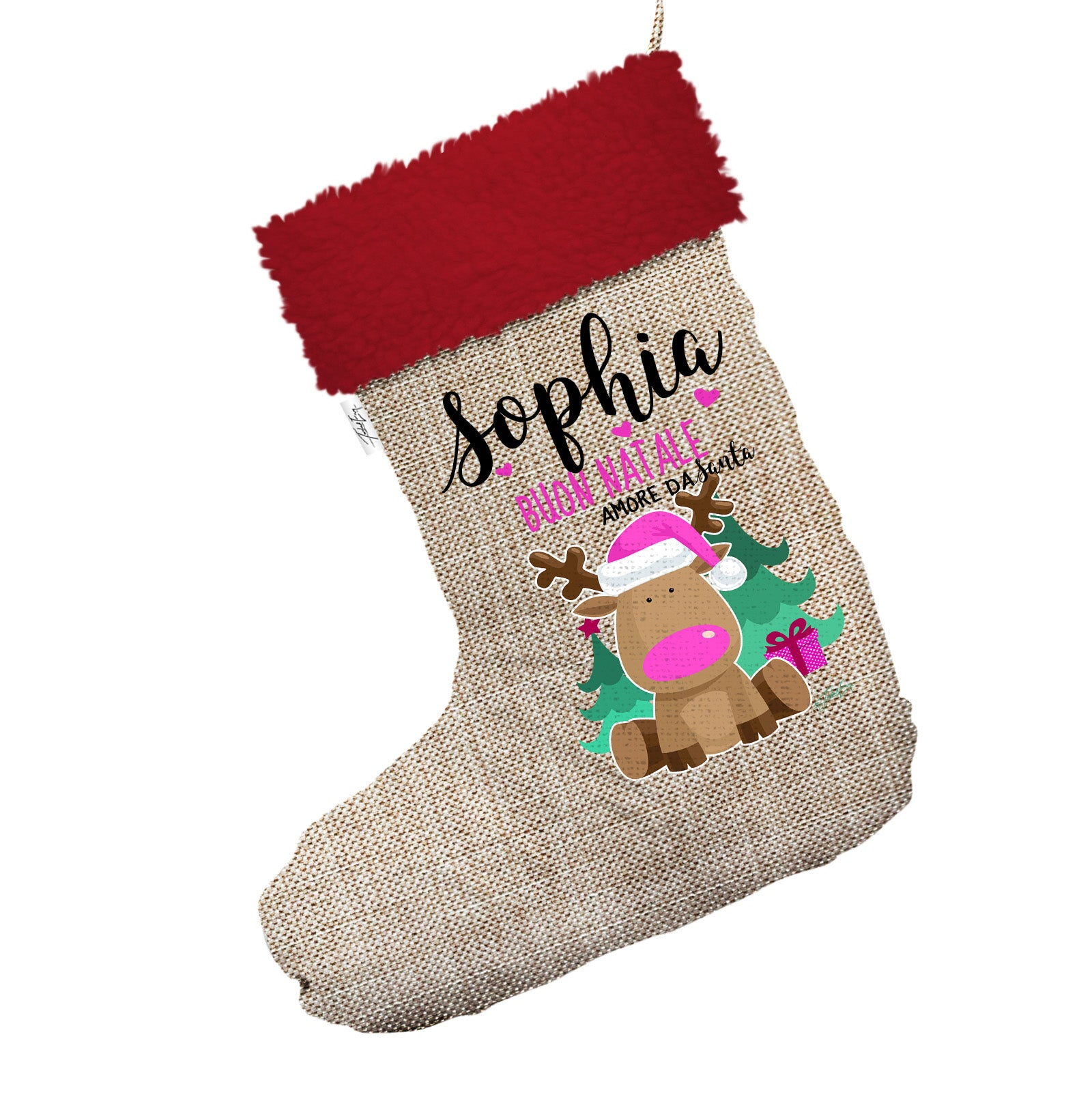 Personalised Buon Natale Reindeer Jumbo Hessian Christmas Stocking ...