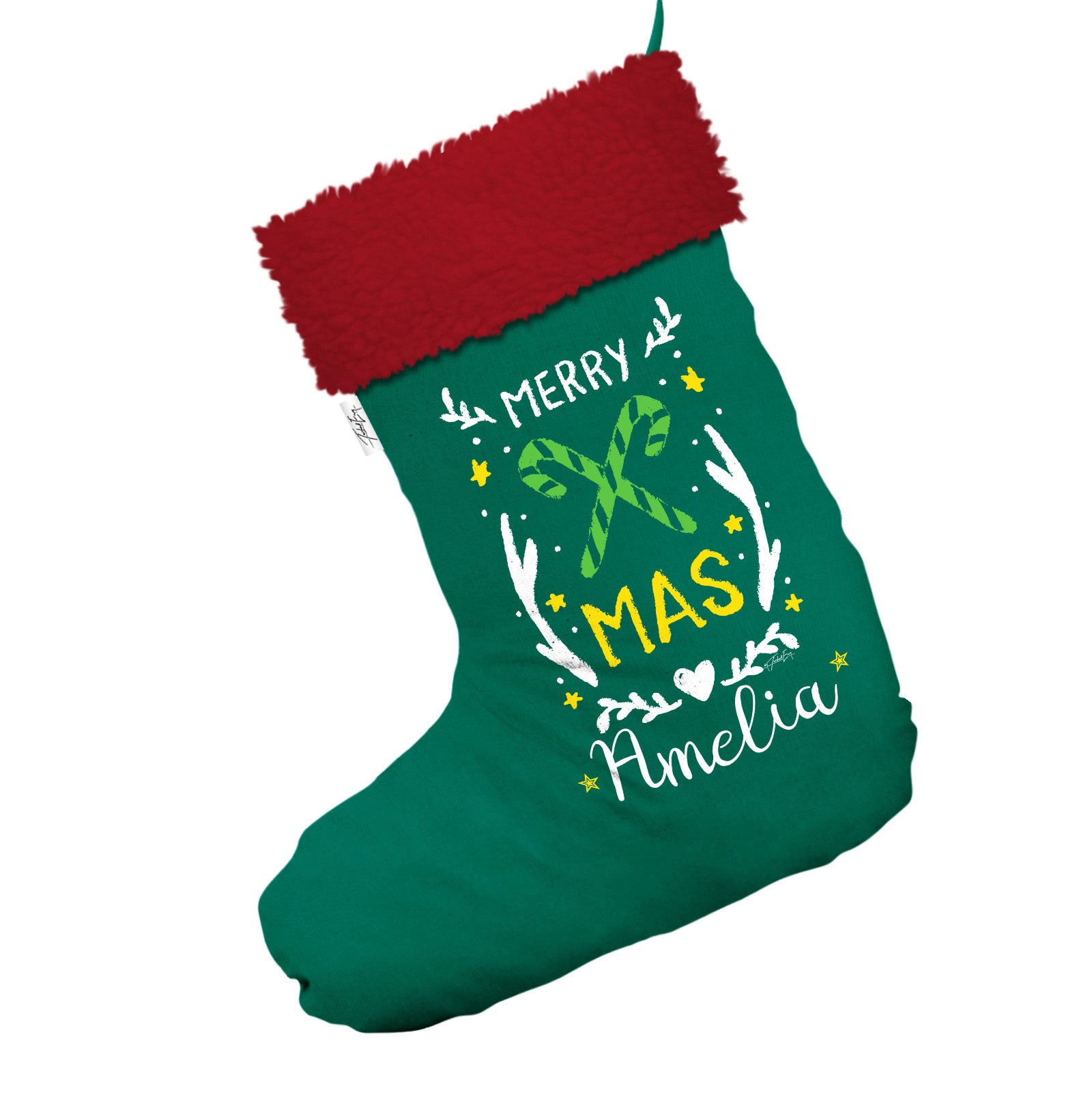 1baffebba39 Candy Cane Personalised Jumbo Green Christmas Stocking With Red Fur Trim