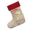 Personalised Christmas Snowman Jumbo Hessian Christmas Stockings Socks With Red Fur Trim