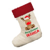 Personalised Merry Christmas Reindeer White Christmas Stocking With Red Fur Trim