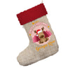 Personalised Merry Christmas Reindeer Jumbo Hessian Deluxe Christmas Stocking With Red Fur Trim