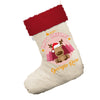 Personalised Merry Christmas Reindeer White Santa Claus Christmas Stockings With Red Fur Trim