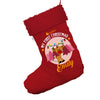 Personalised My First Christmas With Reindeer Jumbo Red Deluxe Christmas Stocking With Red Fur Trim