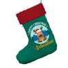 Personalised Merry Christmas Reindeer Jumbo Green Deluxe Christmas Stocking With Red Fur Trim