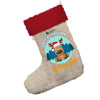 Personalised Merry Christmas Reindeer Jumbo Hessian Christmas Stocking With Red Fur Trim
