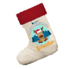 Personalised Merry Christmas Reindeer White Christmas Stockings Socks With Red Fur Trim