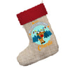 Personalised My First Christmas With Reindeer Jumbo Hessian Christmas Stocking With Red Fur Trim