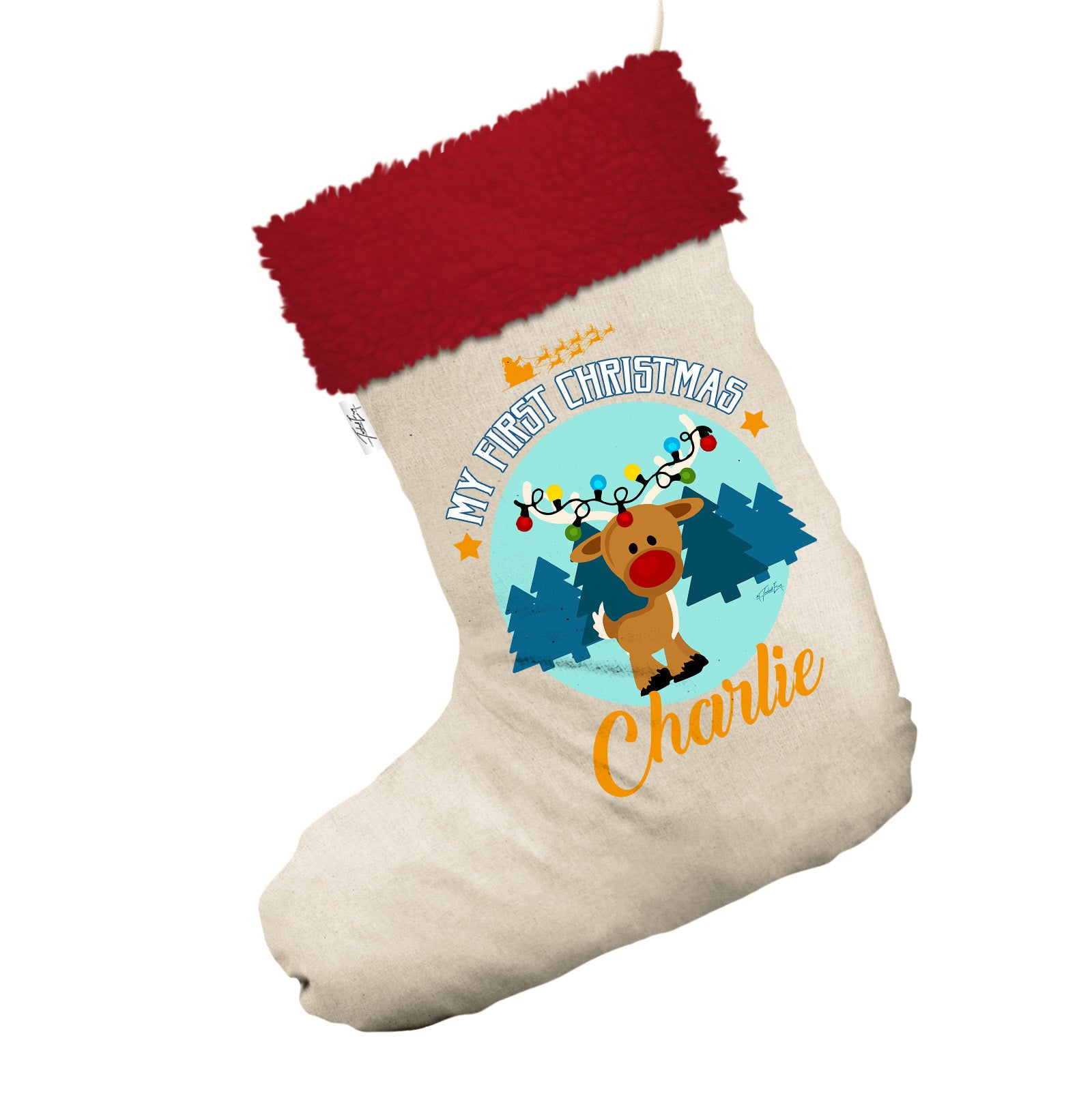 personalised my first christmas with reindeer white christmas stocking gift bag with red fur trim - Red And White Christmas Stockings