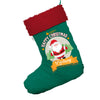 Personalised Merry Christmas From Santa Jumbo Green Christmas Stocking With Red Fur Trim