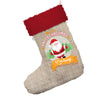 Personalised Merry Christmas From Santa Jumbo Hessian Santa Claus Christmas Stockings With Red Fur Trim