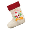 Personalised Merry Christmas From Santa White Santa Claus Christmas Stockings With Red Fur Trim