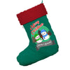 Personalised Snowman Merry Christmas Jumbo Green Christmas Stocking Gift Bag With Red Fur Trim