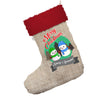 Personalised Snowman Merry Christmas Jumbo Hessian Deluxe Christmas Stocking With Red Fur Trim