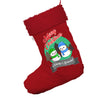 Personalised Snowman Merry Christmas Jumbo Red Santa Claus Christmas Stockings With Red Fur Trim