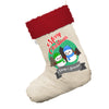 Personalised Snowman Merry Christmas White Christmas Stockings Socks With Red Fur Trim