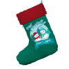 Personalised My First Snowman Christmas Jumbo Green Santa Claus Christmas Stockings With Red Fur Trim