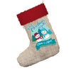 Personalised My First Snowman Christmas Jumbo Hessian Christmas Stockings Socks With Red Fur Trim