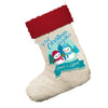 Personalised My First Snowman Christmas White Christmas Stocking Gift Bag With Red Fur Trim
