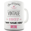 Vintage 1957 Aged to Perfection 60th Birthday Pink Personalised Mug