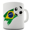 Brazil Football Flag Paint Splat Ceramic Mug