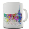 Paris Skyline Ink Splats Novelty Mug