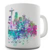 Seattle Skyline Ink Splats Funny Mug