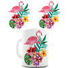 Watercolour Flamingo Flowers  Novelty Mug