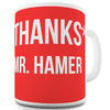 Red Personalised Thanks Teacher Name Funny Mug