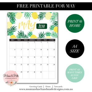 Free Printable Calendar - Tropical Pineapples by Mum and Me Handmade Designs