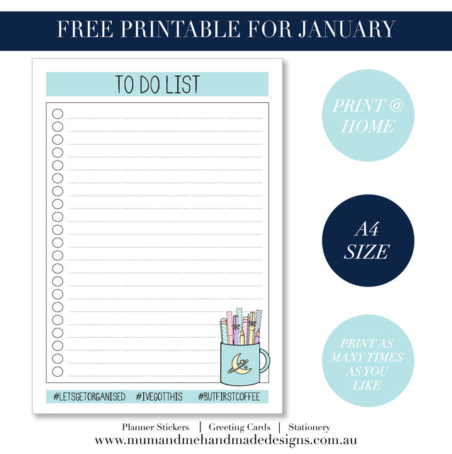 Free Printable To Do List by Mum and Me Handmade Designs.  This free PDF Instant Download is great to help you keep organised in the home or office.  A fun illustrated To Do List.