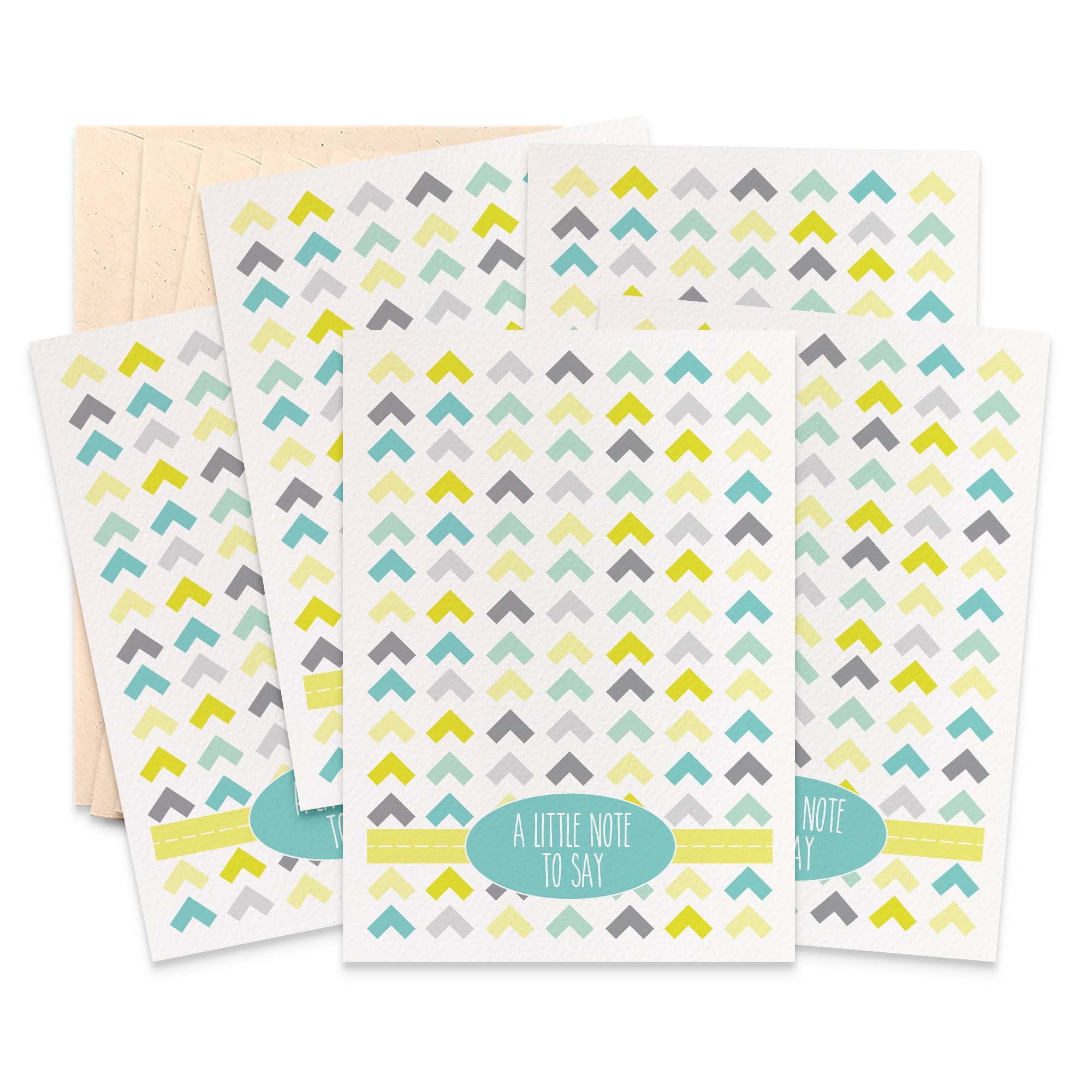 Set of 5 - Mustard Arrows Greeting Cards by mumandmehandmadedesigns- An Australian Online Stationery and Card Shop
