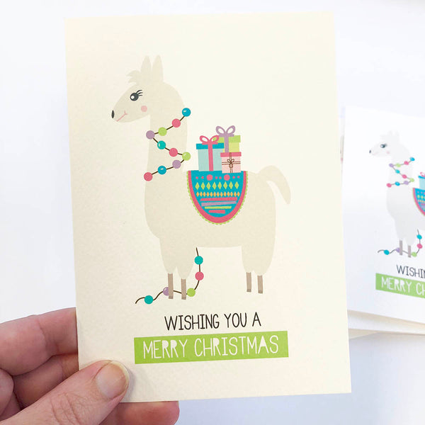 Set of 5 - Llama Christmas Greeting Cards by mumandmehandmadedesigns- An Australian Online Stationery and Card Shop