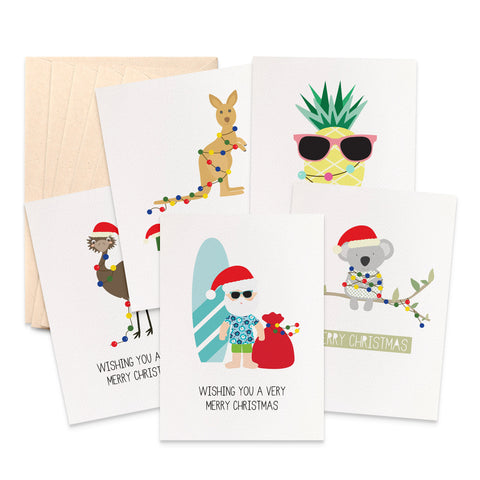 Set of 5 Australian Christmas Greeting Cards by mumandmehandmadedesigns- An Australian Online Stationery and Card Shop