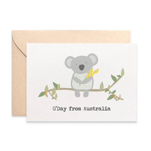 Koala holding wattle Greeting Card by mumandmehandmadedesigns- An Australian Online Stationery and Card Shop