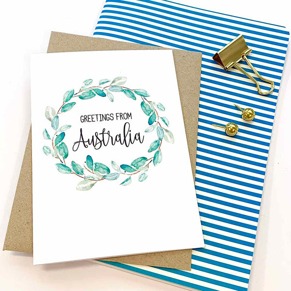 Eucalyptus Wreath Greeting Card by mumandmehandmadedesigns- An Australian Online Stationery and Card Shop
