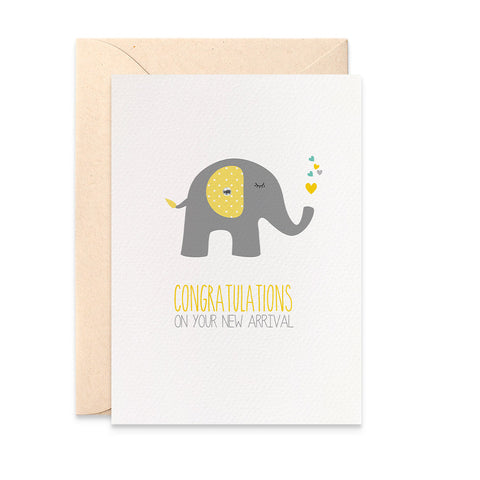 Grey and Yellow Elephant Greeting Card by mumandmehandmadedesigns- An Australian Online Stationery and Card Shop