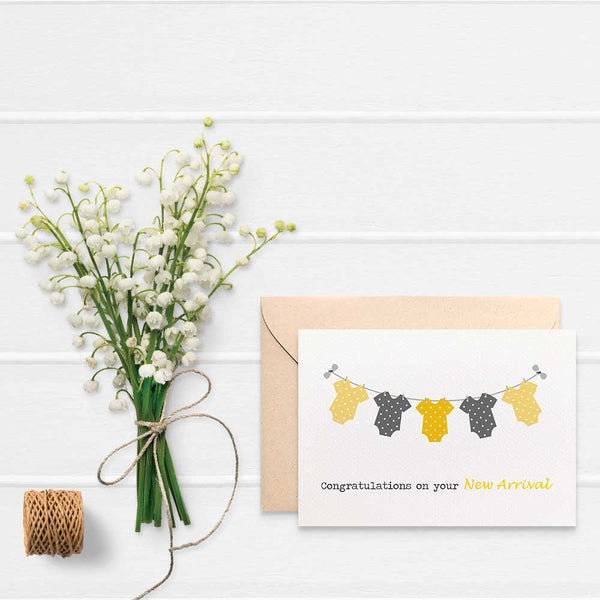 Unisex Baby Clothes Greeting Card by mumandmehandmadedesigns- An Australian Online Stationery and Card Shop