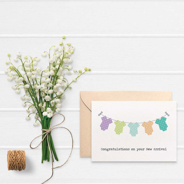 Unisex Baby Clotheslines Greeting Card by mumandmehandmadedesigns- An Australian Online Stationery and Card Shop