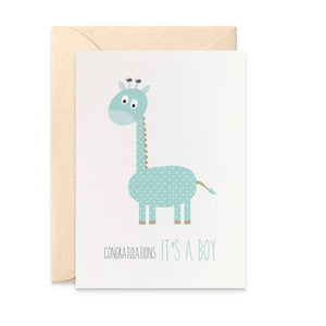 Blue Giraffe Greeting Card by mumandmehandmadedesigns- An Australian Online Stationery and Card Shop