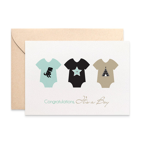 3 Baby Boy Rompers Greeting Card by mumandmehandmadedesigns- An Australian Online Stationery and Card Shop