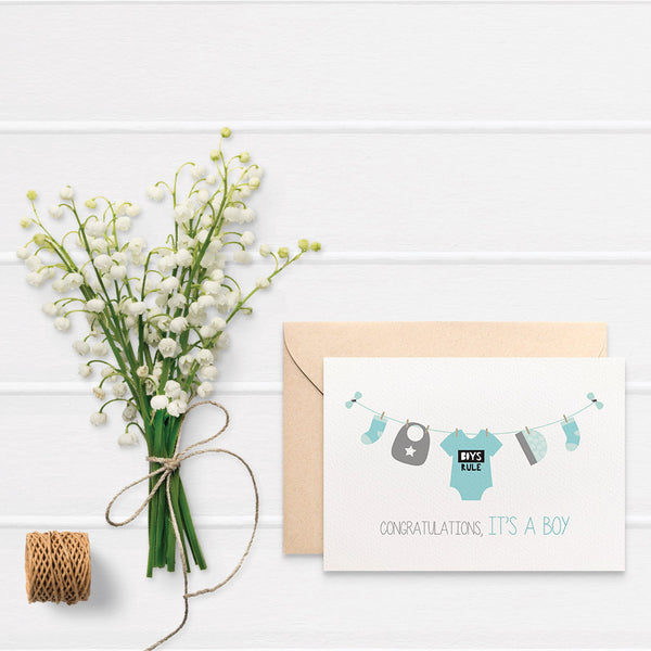 Baby Boy Items on Line Greeting Card by mumandmehandmadedesigns- An Australian Online Stationery and Card Shop
