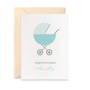 Blue Polka Dot Pram Greeting Card by mumandmehandmadedesigns- An Australian Online Stationery and Card Shop