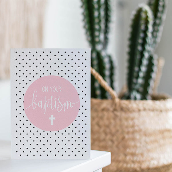Pink Baptism Greeting Card by mumandmehandmadedesigns- An Australian Online Stationery and Card Shop