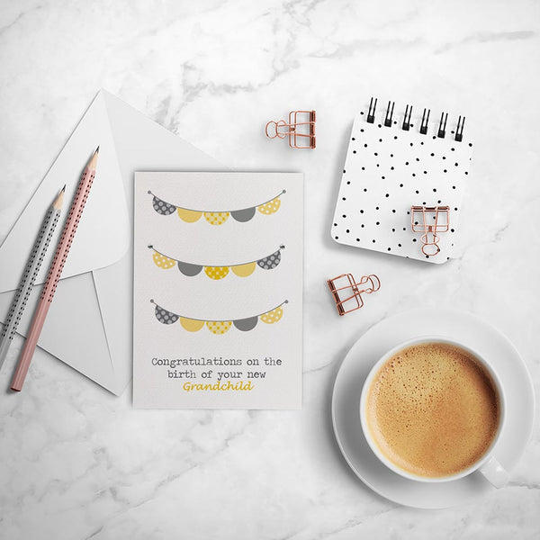 Yellow and Grey Bunting Greeting Card by mumandmehandmadedesigns- An Australian Online Stationery and Card Shop