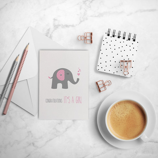 Pink Elephant with Hearts Greeting Card by mumandmehandmadedesigns- An Australian Online Stationery and Card Shop