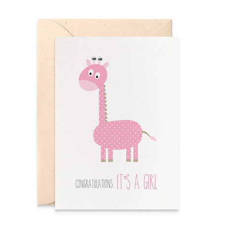 Pink Giraffe Greeting Card by mumandmehandmadedesigns- An Australian Online Stationery and Card Shop