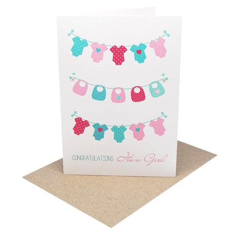 Girls Clothes on Line-Greeting Card-mumandmehandmadedesigns