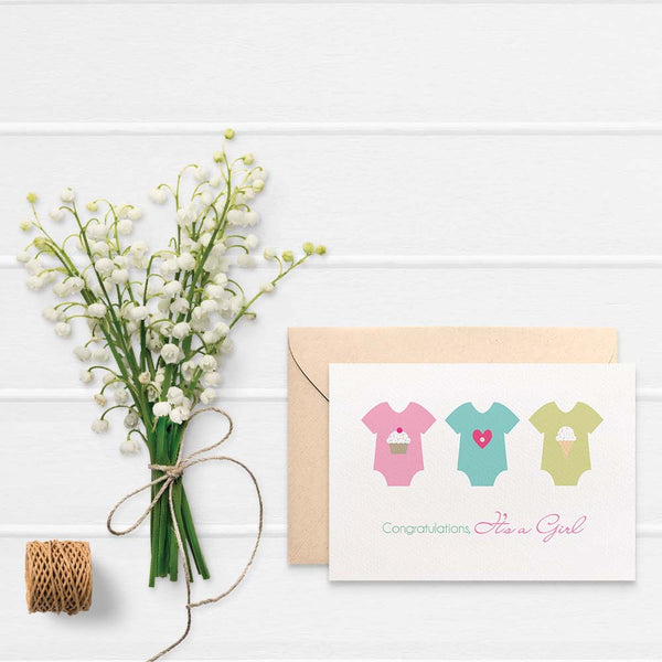 Baby Girl Rompers Greeting Card by mumandmehandmadedesigns- An Australian Online Stationery and Card Shop