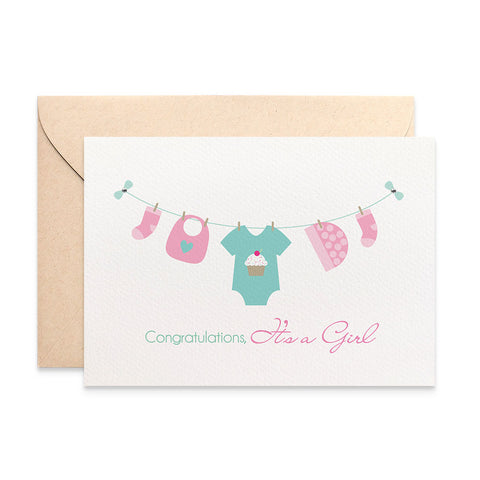 Baby Girl Items - Cupcake Greeting Card by mumandmehandmadedesigns- An Australian Online Stationery and Card Shop