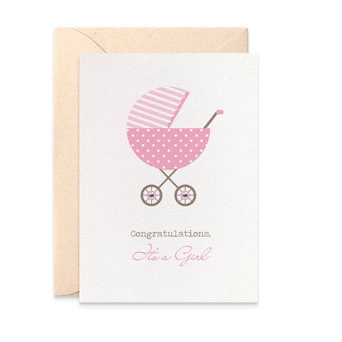 Pink Polka Dot Pram Greeting Card by mumandmehandmadedesigns- An Australian Online Stationery and Card Shop